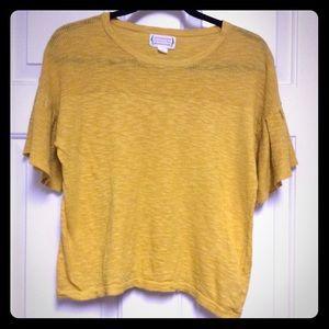 Love Riche | Mustard Flutter Short Sleeve Shirt